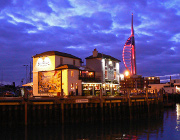 The Bridge Tavern, Old Portsmouth in the dusk