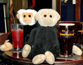Mina and Mooch monkey have a drink in the Fat Cat.