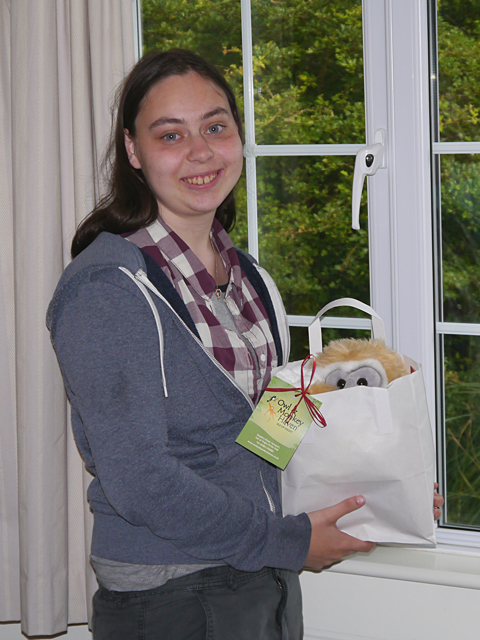 Annie with her leaving present to St Catherines