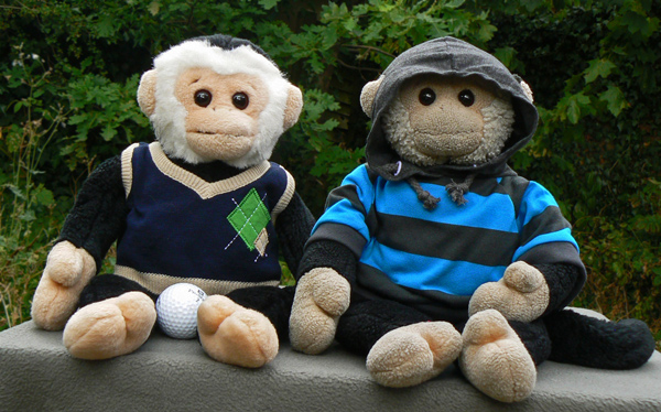 Mooch and Monty monkey with their birthday presents.