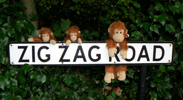 Zig-Zag and the kids on the Zig Zag Road sign.