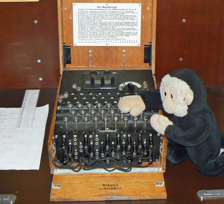 Mooch monkey with an Enigma machine.