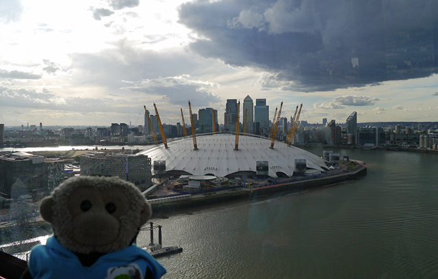 Mooch monkey on the TfL Emirates Air Line Cable Car in London