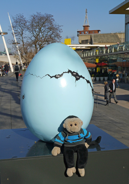 Mooch monkey at the Big Egg Hunt in London